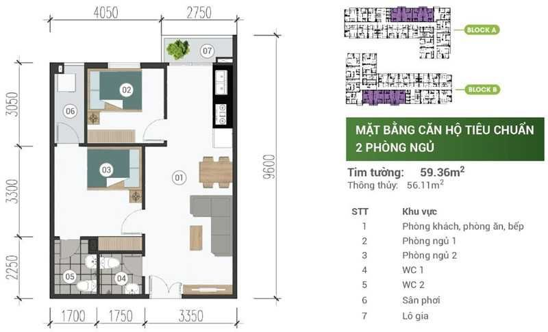 Mat Bang Can Ho Park View Binh Duong 2pn 59m2