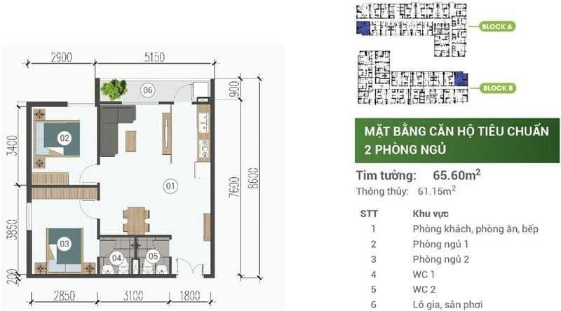 Mat Bang Can Ho Park View Binh Duong 2pn 65m2