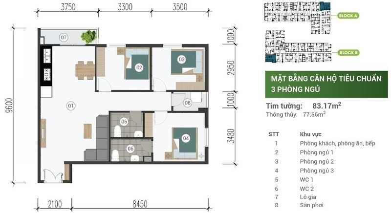 Mat Bang Can Ho Park View Binh Duong 3pn 83m2